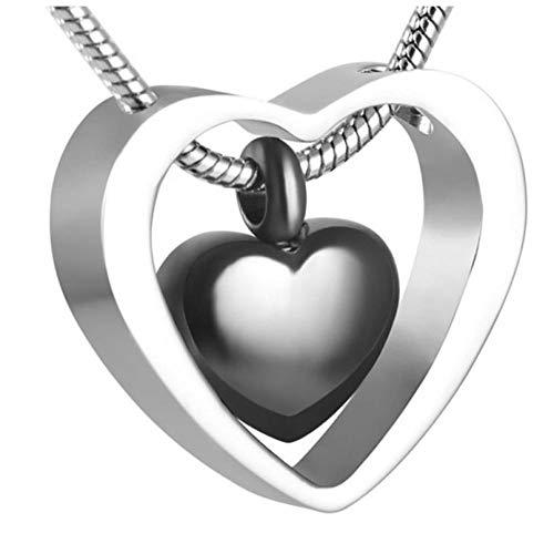 Wxcvz Collar De Urna De Cremación ¡Embudo De Plástico Gratis! Collar De Urna De Cremación De Oro Rosa De Doble Corazón, Kit De Relleno De Embudo Colgante, Cenizas Conmemorativas De Recuerdo