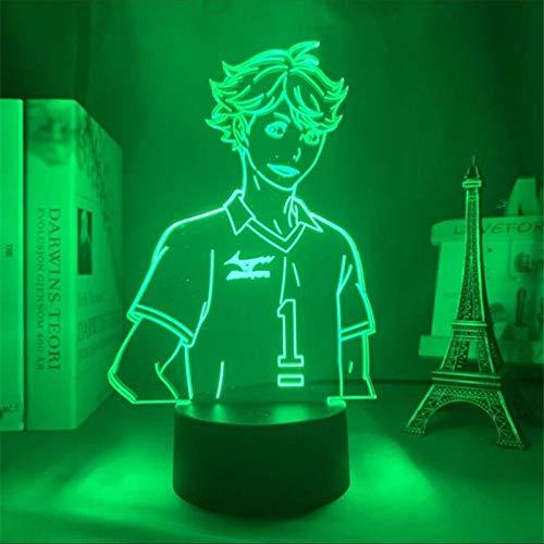 Lámpara de ilusión 3D Anime uShoyo Hinata imagen cool7 Colorful Touch USB Regalos Accesorios de luz Lámpara de mesa Cumpleaños para niños Regalos de vacaciones-16 color remote control