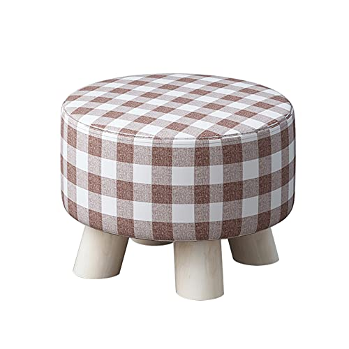 JOUS Low Footstool With 4 Wooden Legs, Cotton Linen Fabric, Detachable Upholstered Seat Cover, Round Pouf Ottoman Cushion, Footrest Max Load 100kg, 28x28x20cm, Small Foot Stool For Living Room