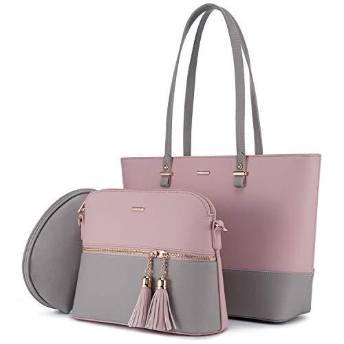 LOVEVOOK Handtasche Damen Schultertasche Handtaschen Tragetasche Damen Groß Designer Elegant Umhängetasche Henkeltasche Set 3-teiliges Set, Grau Rosa