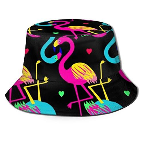 QUEMIN Colorful Heart Flamingo Unisex Summer Travel Bucket Beach Sombrero para el Sol