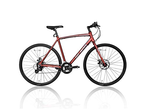 Hiland Road Hybrid Bike for Men Urban City Commuter Bicycle Red S