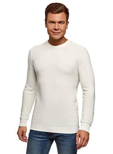 oodji Ultra Hombre Jersey de Punto Texturizado con Cuello Redondo, Blanco, ES 46-48 / S