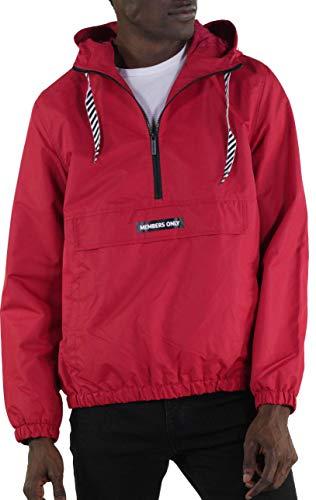 Members Only Men's Solid Pullover Half Zip Windbreaker Jacket - Red XL