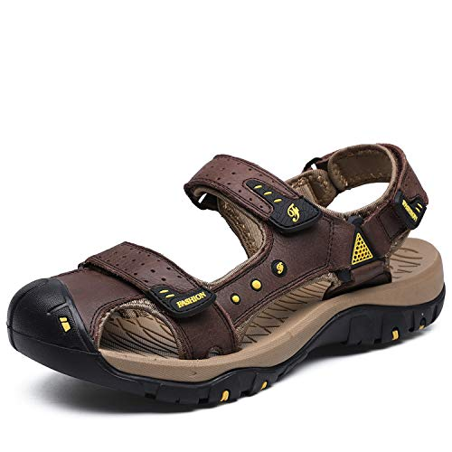 Sandalias de hombre para deportes al aire libre, con cierre de velcro, de piel, para playa, senderismo, antideslizantes, para verano, tallas 38-48, color Marrón, talla 39 EU