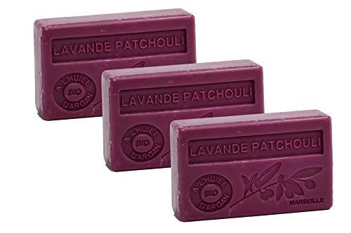 Maison du Savon de Marseille - 3er-Set Arganöl-Seifen - Lavendel-Patchouli (Lavande-Patchouli) - 3 x 100 g