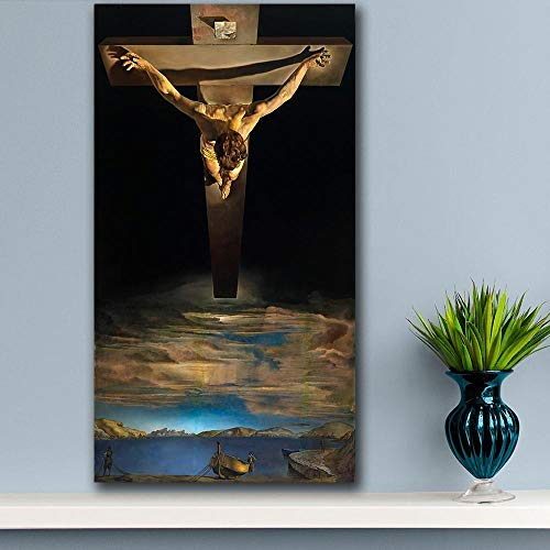 Dali Christus des Kreuzes Wall Art Wandbilder for Wohnzimmer Wohnkultur Ölgemälde Leinwand No Frame Hanging Gemälde Hohe Qualität (Size (Inch) : 24X44)
