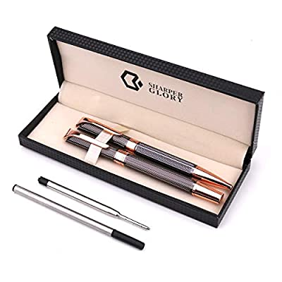 Ballpoint 1.0mm Rollerball 0.7mm Pen Set With Black Ink,Smooth and Easy Writing Metal Pen for Great Birthday,Graduation,Pack of 2 Pens with 2 Extra Refills