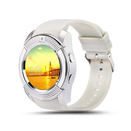 YNLRY Reloj inteligente para hombre V8 Tarjeta SIM Cámara Android Respuesta redondeada Llamada Dial Smartwatch Frecuencia Cardíaca Fitness Tracker (Color: Blanco)