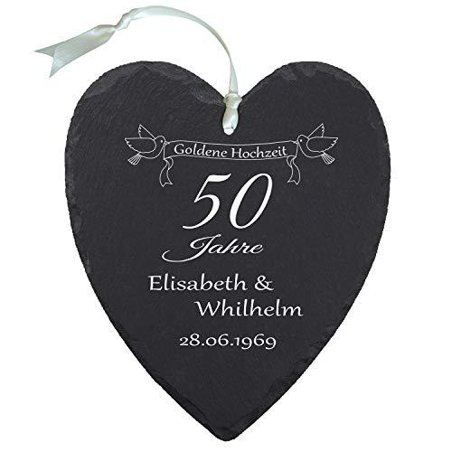 Schieferherz – Goldene Hochzeit (Natur): persönliches Schiefer Herz mit Namen Gravur und Datum – Geschenkidee 50 Jahre Ehe, 50. Hochzeitstag, Goldhochzeit