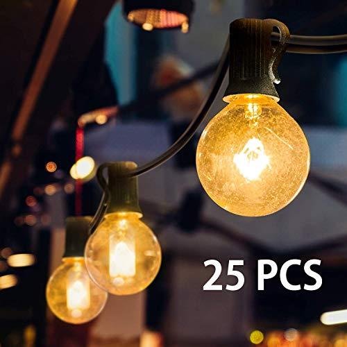 Lichtsnoer voor buiten, lichtketting, G40, 7,63 m, 25 gloeilampen, lichtsnoer voor buiten, warmwit, tuin, lichtsnoer, buitenverlichting, decoratief licht met stekker voor tuin, huwelijk, kamer