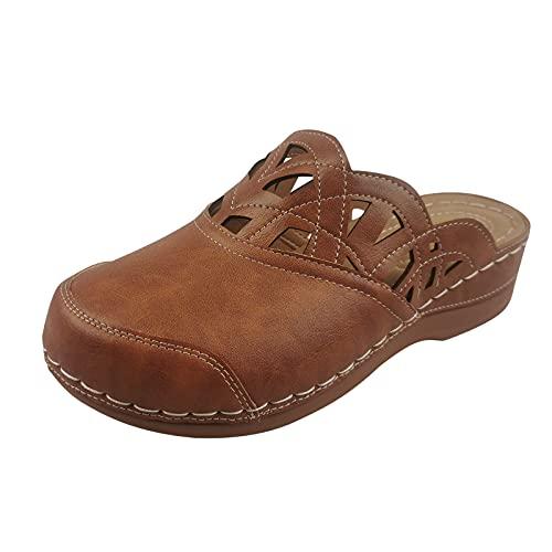 Sandalias Mujer Cerradas cuñas Zapatillas Mujer casa Cuero PU Sandalias Romanas de Mujer Plataforma Calzado de Trabajo Zuecos y Mules Zapatillas Mujer casa Zapatos Mujer cómodos Casuales Verano