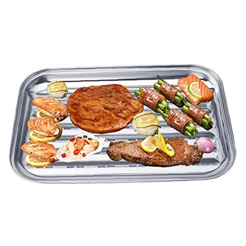 Vassoio di arrostita in Acciaio Inox Rettangolo Rettangolo Barbecue Piastra Vegetale Pentola di Grill Grill Grilling Vassoio Barbecue Frying Pan