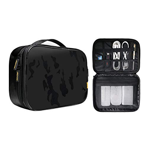 JRCMAX Premium Portable Waterproof Travel Pouch Bag for Electronic Accessories, MacBook Accessories, Chargers, Power Bank, Gadgets, GoPro, Cables, for Office/Home/Traveling-Camouflage Black