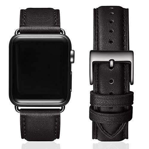 MNBVCXZ Lederbänder für Apple Watch Armband 44mm 42mm 40mm 38mm,Männer Frauen Ersatz-Echtlederband für iWatch Serie 5 4 3 2 1 Sport,Edition(42mm 44mm ,Schwarz/Schwarz Verbinder)