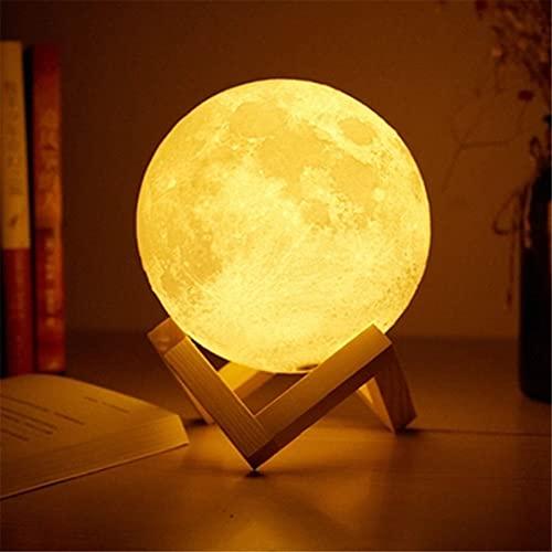 Lámpara De Cama Ligera del Sensor Táctil USB 3D Imprimir Lámpara De Luna Luces Dormitorio Romántico Lámparas De Mesa 2/16 Cambio De Color Decoración del Hogar (Size : 18cm)