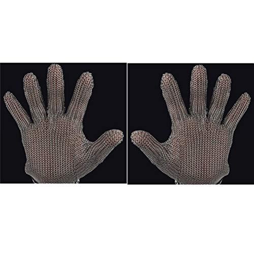 Schnittfeste Handschuhe-XHZ Handschuhe aus Edelstahl 304, Küche, Metzger, Schweißen, Arbeitshandschuhe zum Töten von Fischen. (Grau, Größe: XS - M) (Color : Two, Size : Size M)