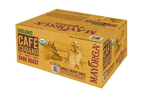 Mayorga Organics Single Serve Cups, 60ct, Café Cubano Dark Roast Coffee, Specialty-Grade, 100% USDA Organic, Non-GMO Verified, Direct Trade, Kosher