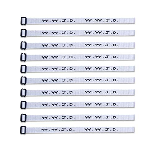 (10) Pack - W.W.J.D. Bracelets - 22 Individual Colors to Choose from - (White)