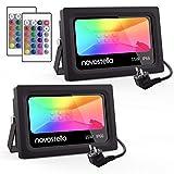 Novostella Lot de 2 Projecteurs LED RGB 15W Extérieur, 16 Couleurs 4 Modes,...