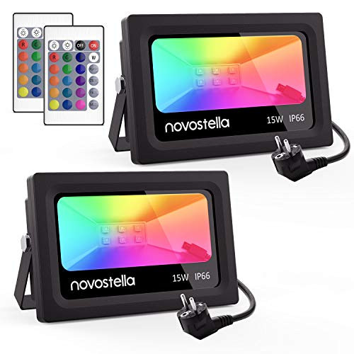 [2Packs] NOVOSTELLA Foco LED RGB Exterior 15W, 16 Colores Proyector LED, 4...