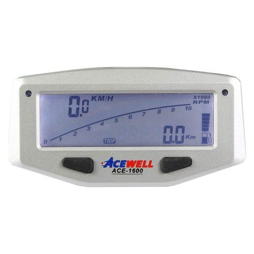 Acewell ACE-1600 Tachometer für Motorräder mit Drehzahlmesser Funktion, Temperatur-, Tankanzeige, LED Schaltwarnung, silber