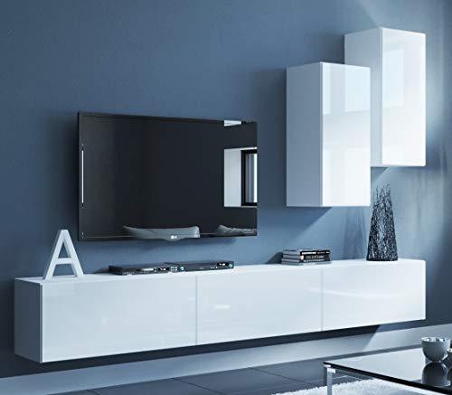 Home Direct Jerry N69 Modernes Wohnzimmer Wohnwand Wohnschrank Schrankwand Möbel Mediawand (Weiß Front: Hochglanz/Korpus: Matt AN69-19W-HG2, Möbel ohne Led)