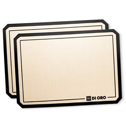 DI Oro® - Tapetes de Silicona Profesionales para Hornear - Antiadherentes y Resistentes a 250°C - Aptas para lavavajillas y fáciles a Limpiar - Silicona Libre de BPA y con certificación LFGB