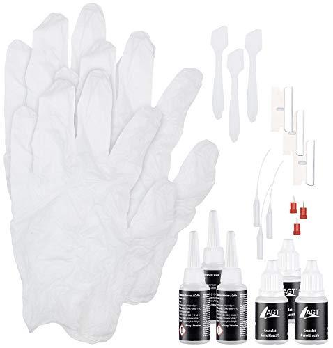 AGT Schweißnaht-Kleber: 3er-Reparatur-Set aus Sekundenkleber und weißem Granulat, je 10 ml (Industriekleber & Granulat)