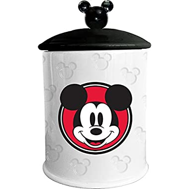 Vandor 89041 Disney Mickey Mouse Embossed Cookie Jar, 7 x 7 x 11 , White/Black