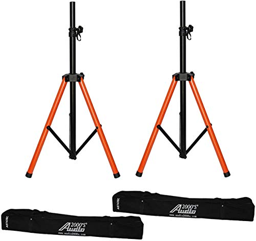 Audio 2000s AST439C2 Pair Tripod PA Speaker Stands with 2 Canvas Carrying Bags
