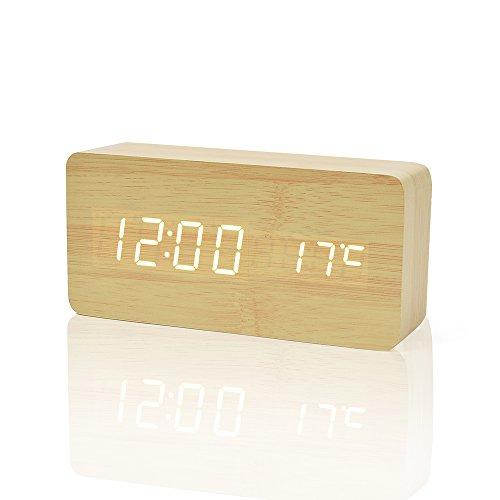 Teecoo LED 木目調 置き 卓上 大音量 目覚まし 多機能 デジタル時計 オシャレ アラーム複数設定 日付 温度計 振動 音感センサー 輝度調節 設定記憶 節電 乾電池式 USB電源 クリスマスプレゼント (ナチュラル・ホワイト)