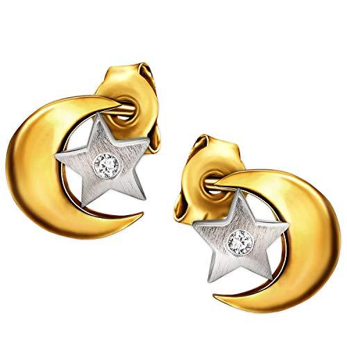 Clever Schmuck Gouden kleine dames oorbellen als oorstekers tweekleurig ster zijdemat in de maan 6 x 6 mm eenvoudig glanzend met een zirkonia in sterretje 333 goud, 8 karaat