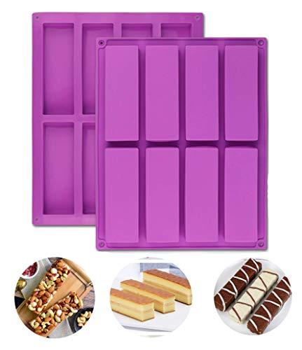 Large Rectangle Granola Bar Silicone Moulds 2PCS 8 Cavity Nutrition Cereal Bar Moulds, Energy Bar Maker for Muffin Brownie Cornbread Cheesecake Pudding Cake and Soap