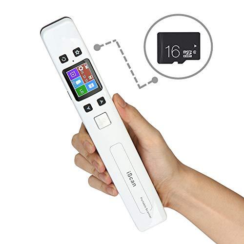 WiFi Escáner Inalámbrico de Documentos Portátil Escáner de Mano 1050DPI 16 G Tarjeta Micro SD en Color para Oficina A4 con JPG y PDF Formato de Archivo -Plata