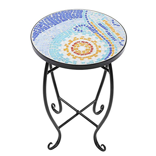Zerone- Runde Gartentisch aus Mosaik, Hocker, rund, Beistelltisch, Motiv Balkon, Pflanzen, für Haus, Hotel, Shop, Büro