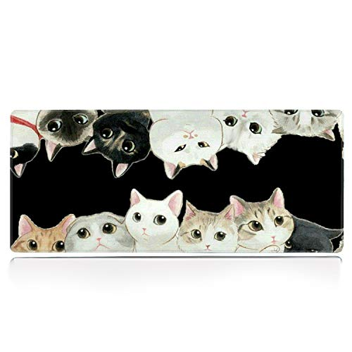 Galdas Gaming Mouse Pad XXL XL Large Mouse Pad Long Extended Mousepad Desk Pad Non-Slip Rubber Mice Pads Stitched Edges Thin Pad (31.5x11.8x0.08 Inch) (Black Cat)