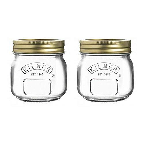 Kilner Giro Top Conserva Bote Almacenaje Soulition 0.25 Litro Transparente (Paquete De 2) - Transparente/Oro