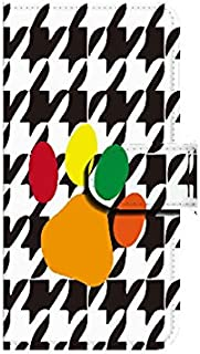Xperia ZL2(SOL25) 犬の足跡×格子柄 D 【鏡付き】 手帳型スマホケース ql552-i2570_am ミラー付き