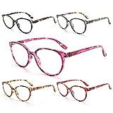 NOVIVON 5 Pack Reading Glasses Blue Light Blocking, Round Computer Readers Anti UV Ray Eyeglasses Frame for Women/Lady(1.5)