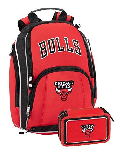 Panini spa Schoolpack - Mochila NBA Chicago Bulls 42 x 30 x 15 cm + Estuche 3 cremalleras completo