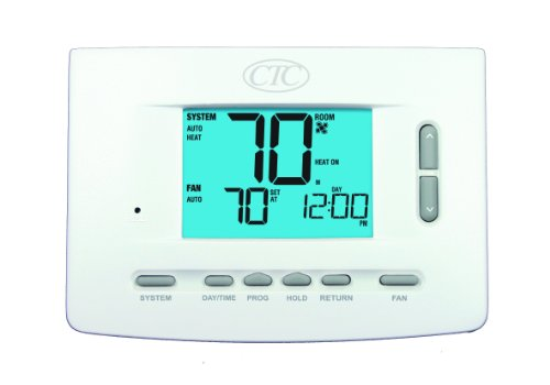 CTC 71157P Wall Thermostat, 5/2 and 7 Day or Non Programmable, 1 Heat/1 Cool Systems, 3 Square Inch Display