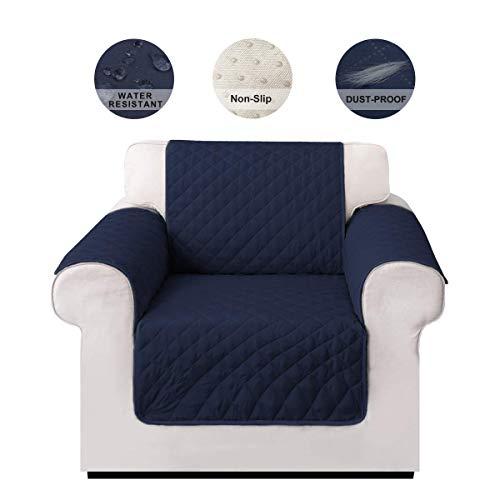 LIVACASA Sesselschoner Sofaschoner rutschfest Sofaüberwurf Wasserabweisend Gesteppte Sesselschutz Sofa Abdeckung Cover Schoner Schonbezug Schutz Überzug Blau 1-Sitzer
