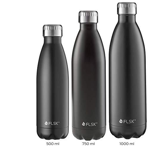 FLSK das Original Trinkflasche Thermoflasche Isolierflasche hält 18h heiß - 24h kalt (Farbe Black, Grösse 500ml)
