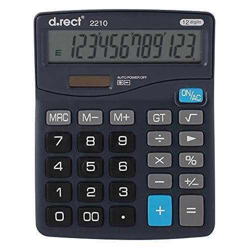 D.RECT 2210 rekenmachine, kantoorrekenmachine, eenvoudige rekenmachine, dual power (zonne-energie en batterij), 12-cijferig