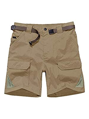 Jessie Kidden Men's Stretch Hiking Shorts Outdoor Quick Dry Elastic Waist Fishing Camping Casual Tactical Cargo Shorts (6018 Khaki, 34)