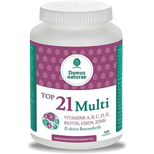 TOP21 Multi Vitamine A, B, C, D, E, BIOTIN, SELEN, EISEN, ZINK, JOD, FOLSÄURE, KUPFER, NIACIN, MANGAN, MAGNESIUM, MOLYBDÄN, INOSITOL | 120 Multivitamin Kapseln | keine Tabletten
