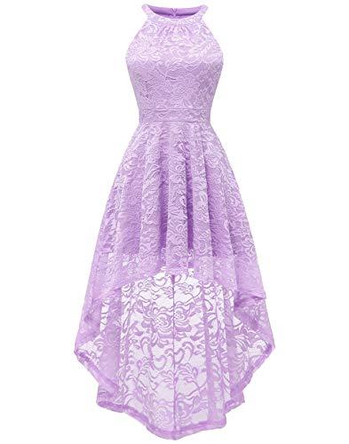 BeryLove Damen Vokuhila Cocktail Kleid Elegant Halter Spitzenkleid Brautjungfern Blumenmuster BLP7028Lavender2XL