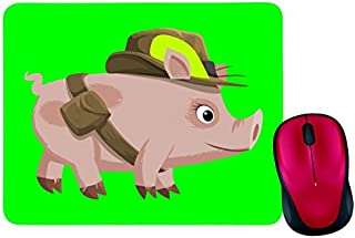 Alfombrilla para ratón con diseño de cerdito, rosa, animal, sombrero de peluche, ojos grandes, sombrero en negro, blanco, ...