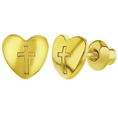 18K chapado en oro corazón Cruz religiosa seguridad para niñas tor